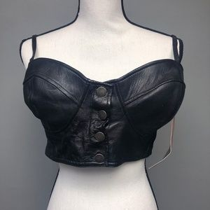 VTG 90s NWT Deadstock First Mfg Leather Bustier